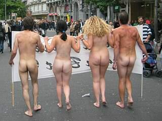 naked anti-fur protesters in Antwerp