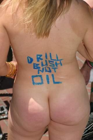 naked anti-bush protester