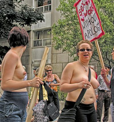 naked dykes protesting