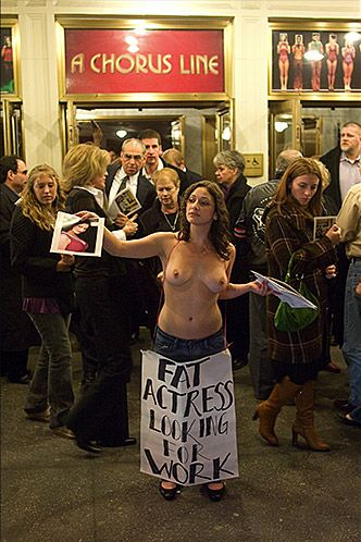 naked protest against concepts of fatness