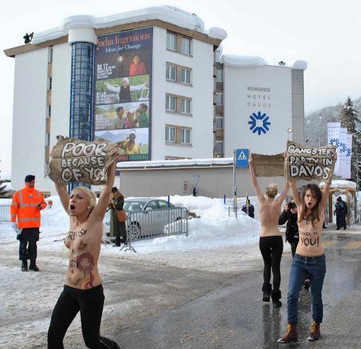 nude FEMEN protesters in Davos