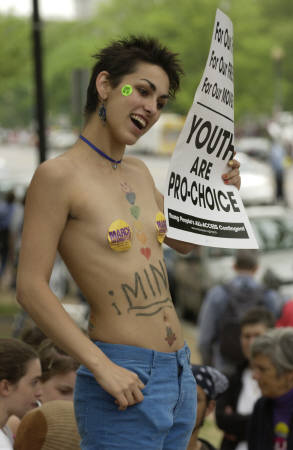 nude protester for abortion rights