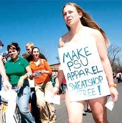 nude protest against conditions of clothing manufacture