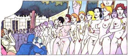 nude women with vibrators protesting en masse