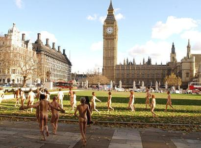 nude frolicking in Parliament Square