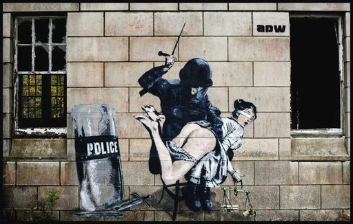 The Lady Of Justice gets her ass beaten by a riot policeman street art graffiti