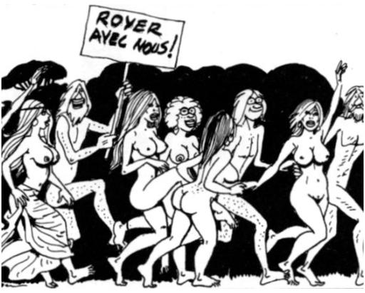 naked hippies at a comic book protest
