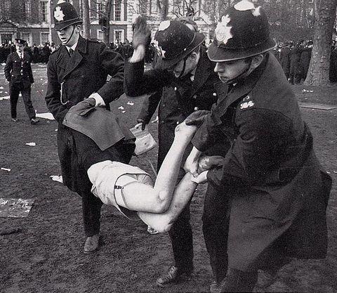 spanked protester