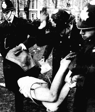 protester spanked in britain