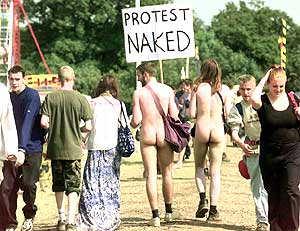 protest naked sign in glastonbury