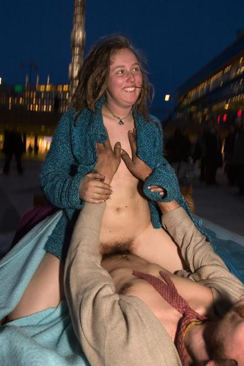 sex protest in public square in sweden