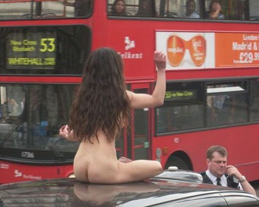naked on top of a taxi