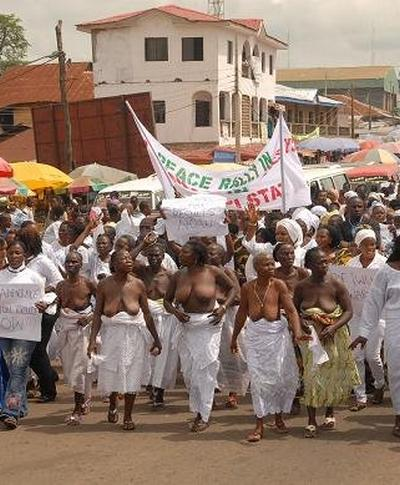 topless protesting in Africa